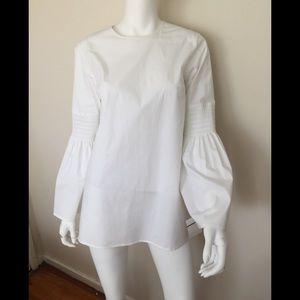 NWT Michael Kors white cotton bell sleeve blouse
